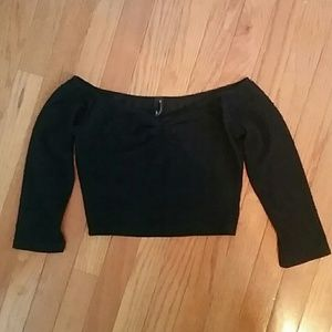 Nasty Gal Off the Shoulder Cropped Black Top XS
